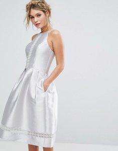 Read more about Chi chi london satin lace insert midi dress - silver