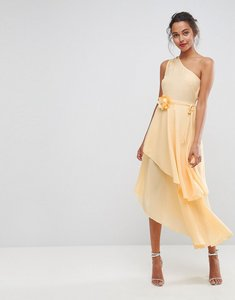 Read more about Asos one shoulder layered midi dress with corsage - cream