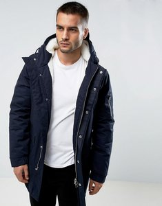 Read more about Bellfield borg lined parka with hood - navy