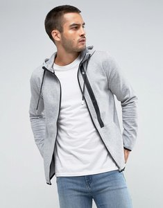 Read more about Only sons zip hoodie with tech pocket details - light grey