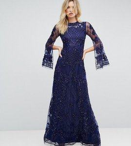 Read more about A star is born tall embellished maxi dress with long split sleeve - navy