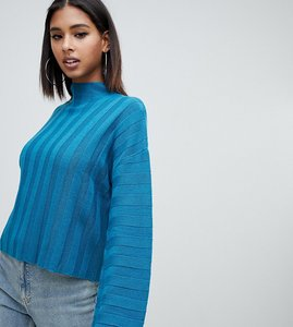 Read more about Missguided high neck wide sleeve jumper in blue