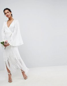 Read more about Asos edition fringe wrap wedding maxi dress - white