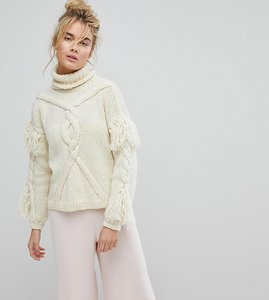 Read more about Oneon hand knitted cable tassle jumper - cream