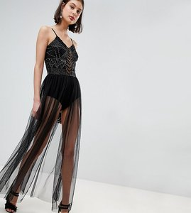Read more about Lace beads embellished bodysuit with sheer skirt - black