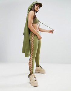 Read more about Puma x fenty satin lacing legging - olive branch