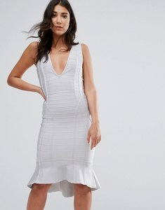Read more about Missguided grey bandage plunge frill hem midi dress - grey