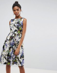 Read more about French connection kiki palm wave print a line dress - brule multi