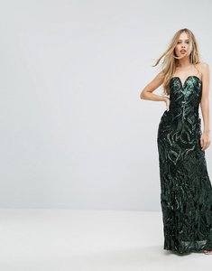 Read more about Tfnc bandeau sequin maxi dress - green
