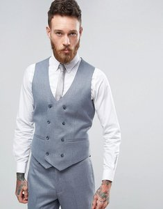 Read more about Asos wedding skinny suit waistcoat in slate grey micro texture - grey