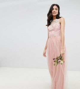 Read more about Chi chi london tall sleeveless maxi dress with premium lace and tulle skirt - vintage rose gold
