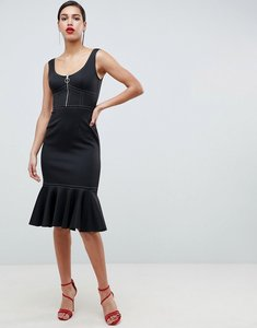 Read more about Asos midi pencil dress with contrast stitch detail and pep hem - black