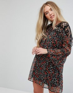 Read more about Influence floral lace insert dress with flare sleeves - multi floral