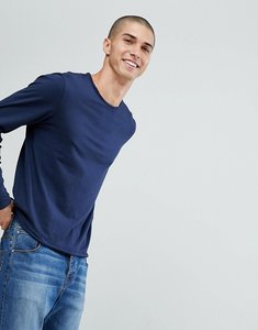 Read more about Another influence basic raw edge long sleeve top - navy