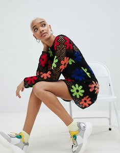 Read more about Asos design premium hand crochet dress - multi