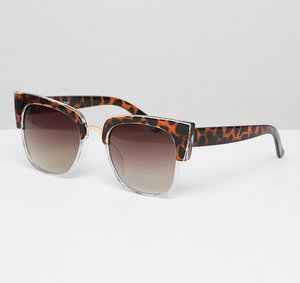 Read more about Glamorous tortoiseshell oversized square sunglasses - brown