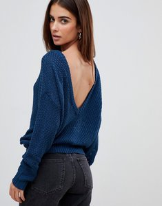 Read more about Missguided plunge v back knitted jumper - navy