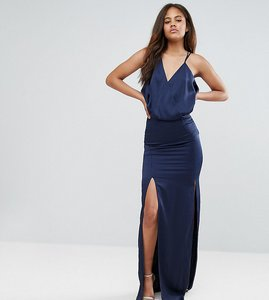 Read more about Asos tall drape front strappy back maxi dress - navy