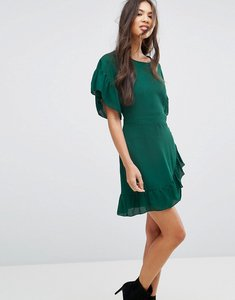 Read more about Missguided chiffon frill sleeve mini dress - green