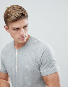 Read more about Abercrombie fitch henley t-shirt contrast placket icon moose logo in grey marl - grey marl
