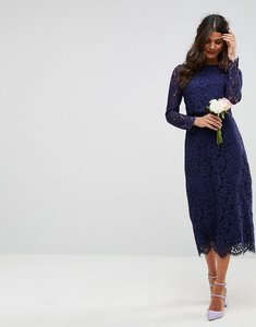 Read more about Asos wedding lace long sleeve midi pencil dress - navy