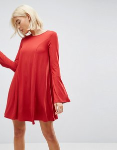 Read more about Asos mini swing dress with seam detail and trumpet sleeve - red