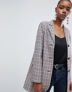 Read more about Asos design check formal coat with western stitching - multi