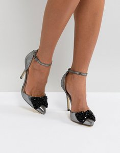 Read more about London rebel embellished bow pointed heels - pewter lurex bow