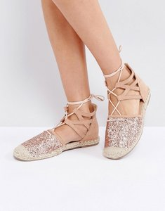 Read more about Truffle collection glitter lace up espadrille - champagne