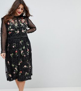 Read more about Frock and frill plus floral premium embroidered metallic tulle skater dress - black multi