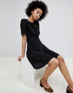 Read more about Miss selfridge lace trim tea dress - black