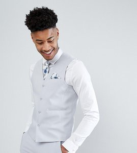 Read more about Asos tall wedding skinny suit waistcoat in ice grey - light grey