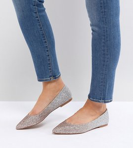 Read more about Asos latch wide fit pointed ballet flats - ombre glitter