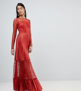 Read more about Asos tall satin panelled lace pleated maxi dress - rust