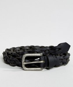 Read more about Asos leather slim belt in black with plait and silver buckle - black