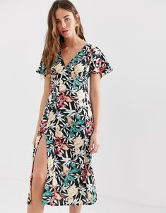 Read more about Brave soul midi dress with thigh split in black floral