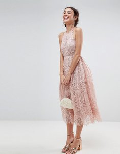 Read more about Asos lace pinny scallop edge midi prom dress - pink