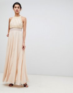16d7fb2c25bd68 Read more about Asos crop top maxi dress with pearl embellishment - nude