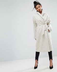 Read more about Asos shawl collar belted coat - cream