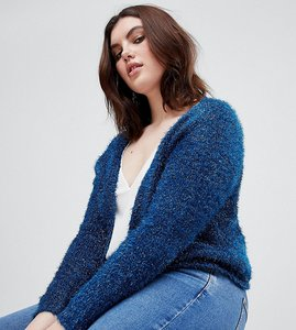 Read more about Asos curve cardigan in tinsel yarn - navy