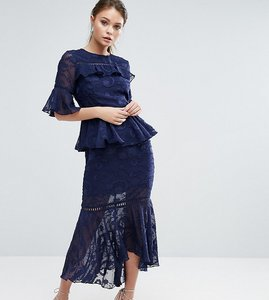 Read more about Dark pink burn out tiered midi dress with lace inserts - navy
