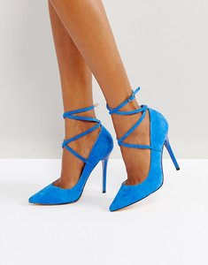 Read more about Office hilda suede pointed court shoes - blue