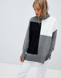 Read more about Qed london roll neck colour block jumper - grey black white