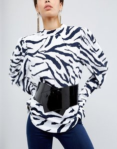 Read more about Asos wide popper detail elastic sash waist belt - black