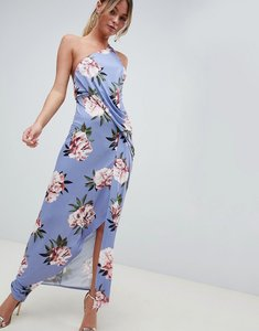 Read more about Asos design floral one shoulder slinky drape front maxi dress - multi