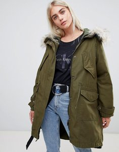 Read more about Asos design oversized parka with quilted liner - khaki