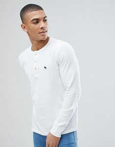 Read more about Abercrombie fitch henley contrast placket long sleeve top tonal logo in white - white