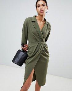Read more about Asos design pleated midi tux dress - khaki