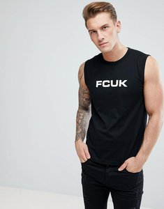 Read more about French connection sleeveless logo vest - black white