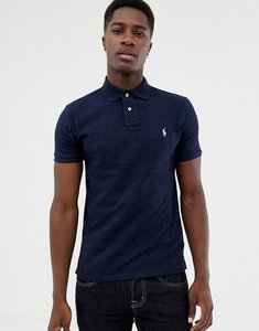 Read more about Polo ralph lauren slim fit pique polo player logo in navy marl - worth navy heather
